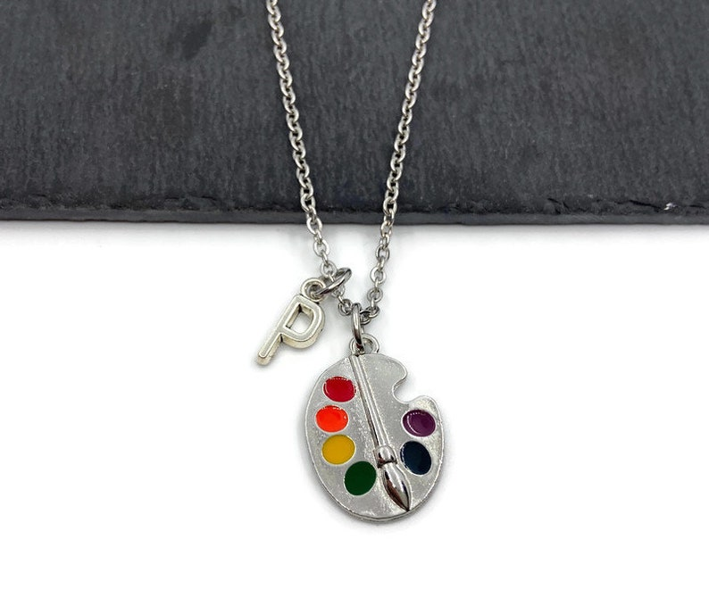 Painter/'s necklace Personalized art gift Artists/' birthday present Painter/'s gift Color palette, Brush Painter/'s jewelry Art gifts