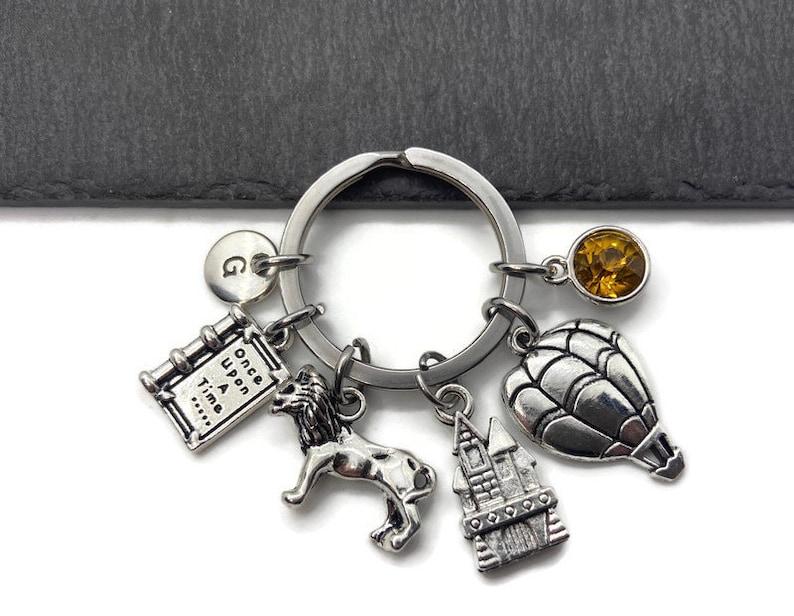 Gift Keychain Wizard of Oz Initial Letter Monogram Personalized Keychain Rainbow Keyring Birthstone Keychain