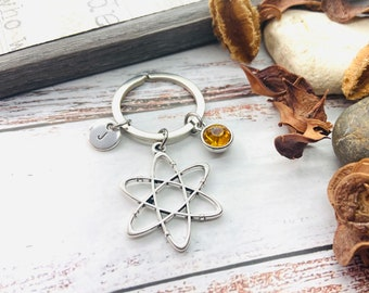 Atom Keyring, Atom Keychain,  Physics gift, Science Gift, Physics jewelry, Chemistry gift, Gift for her, Gift for him