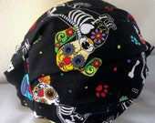 Black Sugar Skull Dogs ADJUSTABLE Face Mask