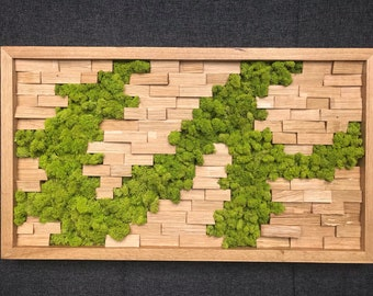 Mural made of wood - Oak and Icelandic moss - Moss picture - Wood picture