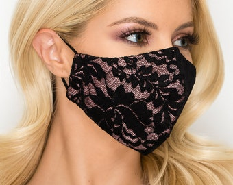 Lace Face Mask | Wedding, Bridesmaid, Fancy, Formal, Dressy, Woman, Guest, Party | 3 Ply Elastic Loop | Washable and Reusable | Made in USA