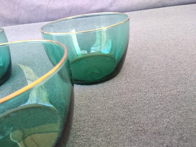 Set of 3 Vintage Libbey Green Glass Gold Rim 4 14 ServingSnack Bowls