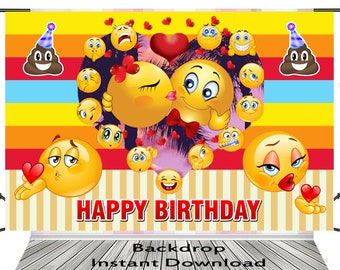 Emoji Backdrop Birthday Banner Instant Download Digital File