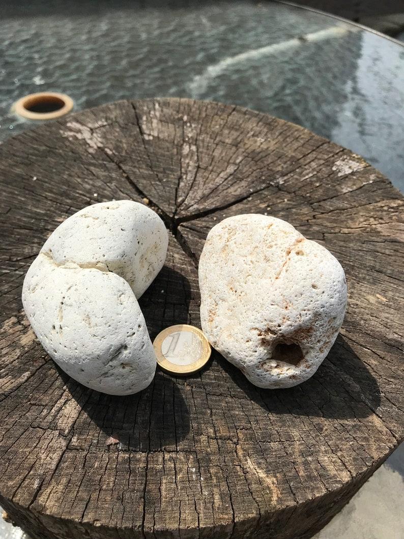 Hag Stone piedra de bruja Beach Stone Odin Stone Talisman Gift For Sea Lover 2 Naturally Holed Beach Stone Pebble with Natural Holes