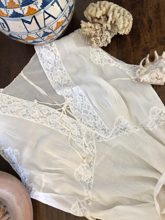 Vintage Long white silk summer dress handmade in I