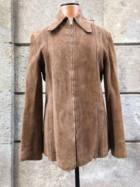 Vintage brown suede leather jacket 70s