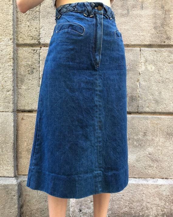 Midi skirt denim 70s round pockets detail braided