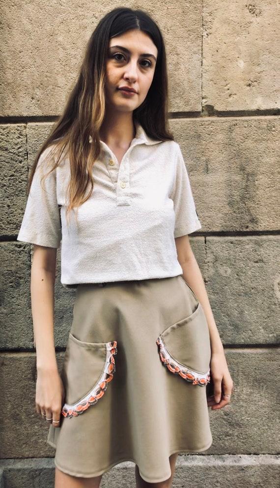 '60s '60s beis handmade mini wheel skirt