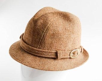 4c58c971cac64 Walker hat, harris tweed hat. Vintage, men's 1970s beige tweed fedora walker