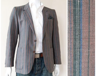 35b0630d Lapidus sport jacket size 42, vintage 80s striped blazer, salmon green  striped sport coat. Lapidus diffusion, made in France haute couture