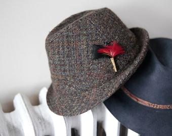 0dcf5d3c87116 Vintage harris tweed plaid fedora