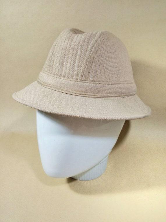 Vintage tweed homburg, linen beige fedora hat. Vin