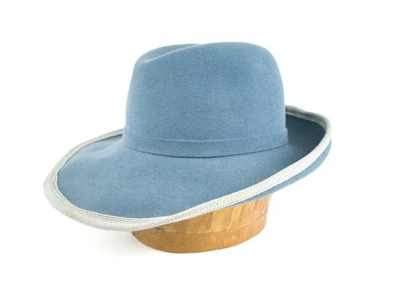Sky blue wide brim hat, 1970s vintage fur felt hat