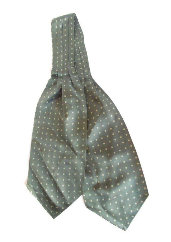 Sage green ascot, with polka dots. 1960s vintage t
