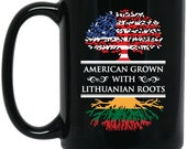 American Grown Lithuanian Roots 15 oz. Black Ceramic Lithuanian Coffee Tea Mug is part of the Lithuania Strong Apparel collection