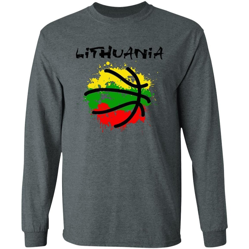 Lithuania Strong Abstract Lithuania Basketball Men /& Women Unisex Long Sleeve Tshirt is part of the Lithuania Strong Apparel Collection