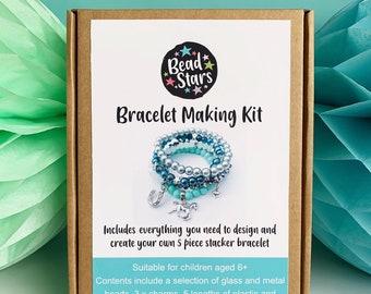 Christmas Gift for Girls, Pony Bracelet Kit, Horse Jewellery Making Kit, DIY Craft Kit at Home, Beaded Bracelet, Bead Stars