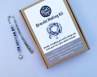 Rock Chick Beaded Bookmark and Bracelet Making Kit Bundle. Bead Stars Rock Chick Skull Bookmark and Bracelet Craft Kit. Gift for girls