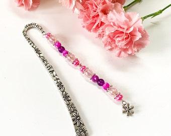 Beaded bookmark, flower bookmark, page holder, gift for reader, teacher gift