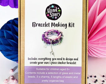 Bracelet Making Kit, Jewellery Making Kit, Gymnastics Party Gift, Stocking filler gift girls, DIY Craft at Home, Bead Stars, Christmas gift