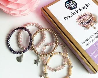 Bracelet Making Kit, Jewellery Making Kit Kids, Mother of Pearl DIY Craft Kit, Seaside Jewellery, Bead Stars, Gifts for Her