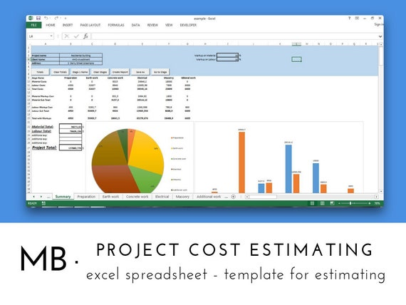 Project Cost Estimating Spreadsheet Template