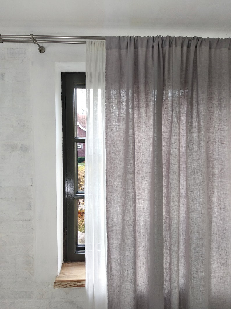 Linen CURTAIN 1 panel Washed linen curtains Semi-sheer linen drapes in custom sizes.
