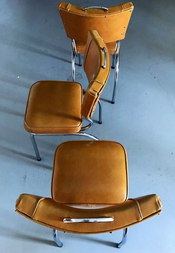 3 Retro Kitchen Chairs + Original Vinyl Upholstery & Hardware Détail //  1950's // Mid Century Furniture // Eagle Remac Pty, Ltd Brand