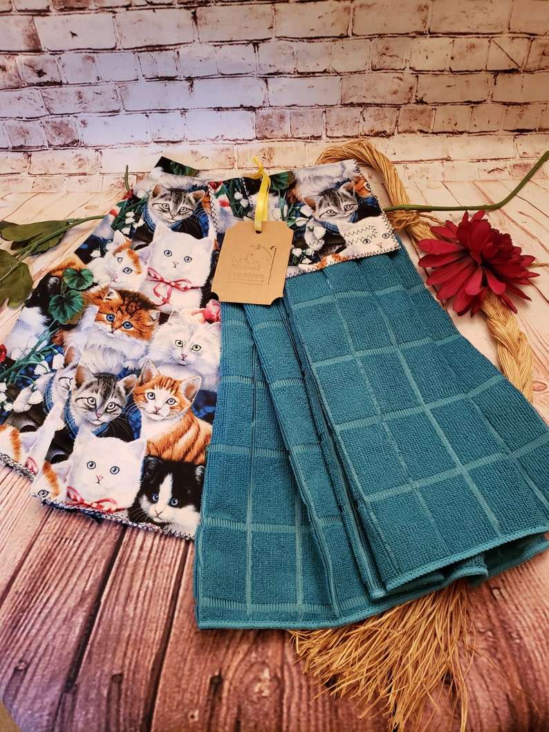 0f00bc4c8ff43 Hanging Kitchen Towels, Tea Towels, 4 PC Set, Cute Kitties, Cat Themed,  Teal, Aqua, One of a Kind, Cat Lovers Gift, Crazy Cat Lady, USA Made