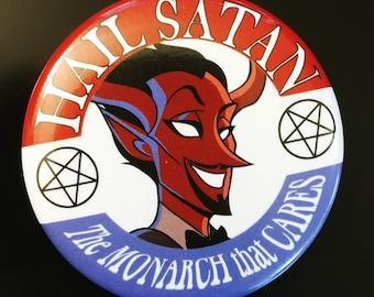 Hail Satan Campaign Button (Hoof Fellas)