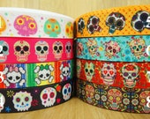 7 8 quot Sugar Skull Pattern Day of the Dead Printed Grosgrain Ribbon Hair Bow Ribbon - Craft Supplies