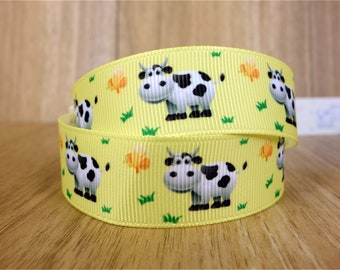 Grosgrain Ribbon Farm Animals Red Barn Trees Sheep Horses Cows Pigs Country 7//8/""