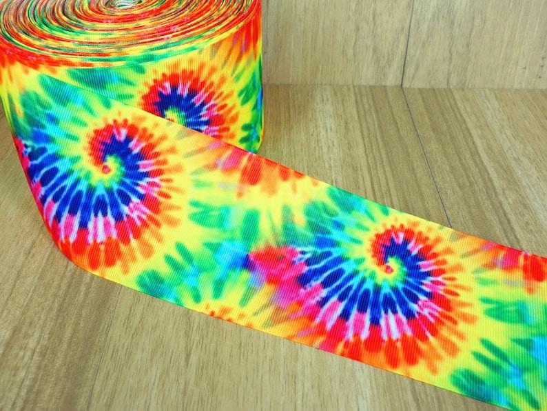 3 Inch Tie Dye Printed White Grosgrain Ribbons