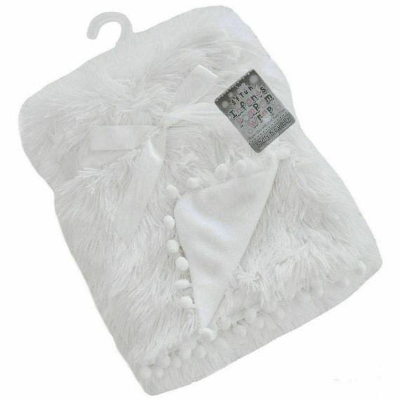 Personalised POM POM Blanket Fluffy Spanish style 75 x 100 Cm High Pile