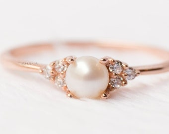 Pearl Engagement Ring Gold Pearl Ring Pearl Cluster Ring Rose Gold Pearl Ring 14k Rose Gold Engagement Ring Pearl Dainty Ring
