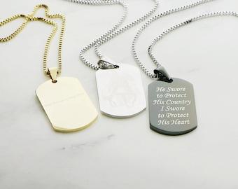 44af7896b9f6 Dog tag necklace | Etsy
