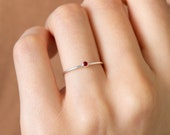 Minimalist Birthstone Ring • Gemstone Ring in Sterling Silver • Dainty Birthstone Ring • Stacking Ring • Gifts for Mom • RM45 photo