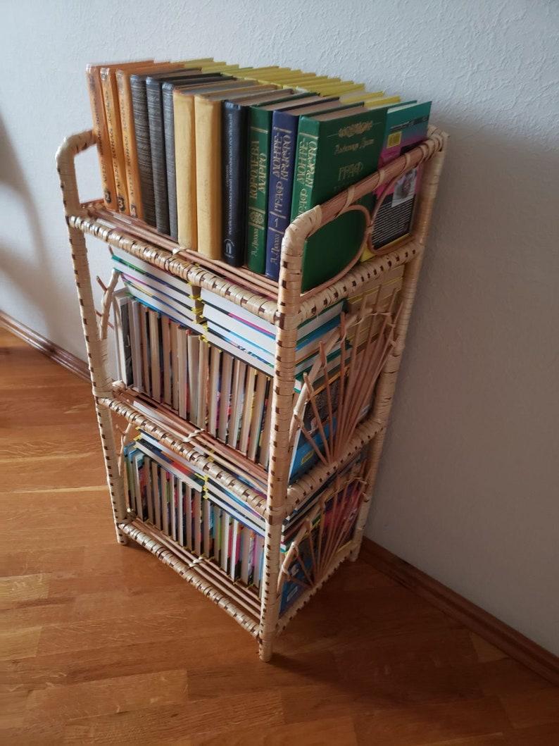 60 tall rattan shelf  wicker Furniture  wood bookcase cabinetplanter stand bathroom shelves Vinyl record storage  rattan Furniture