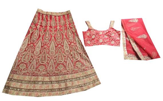 Vintage Lehenga Peach Choli Skirt Dpatta Set Weddi