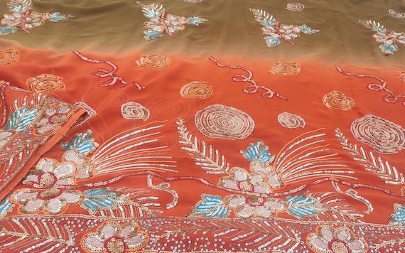 Dev Vintage Indian Pure Silk Saree Sequins Work Floral  Pink Used Craft Ethnic Premium Decor Sari Fabric