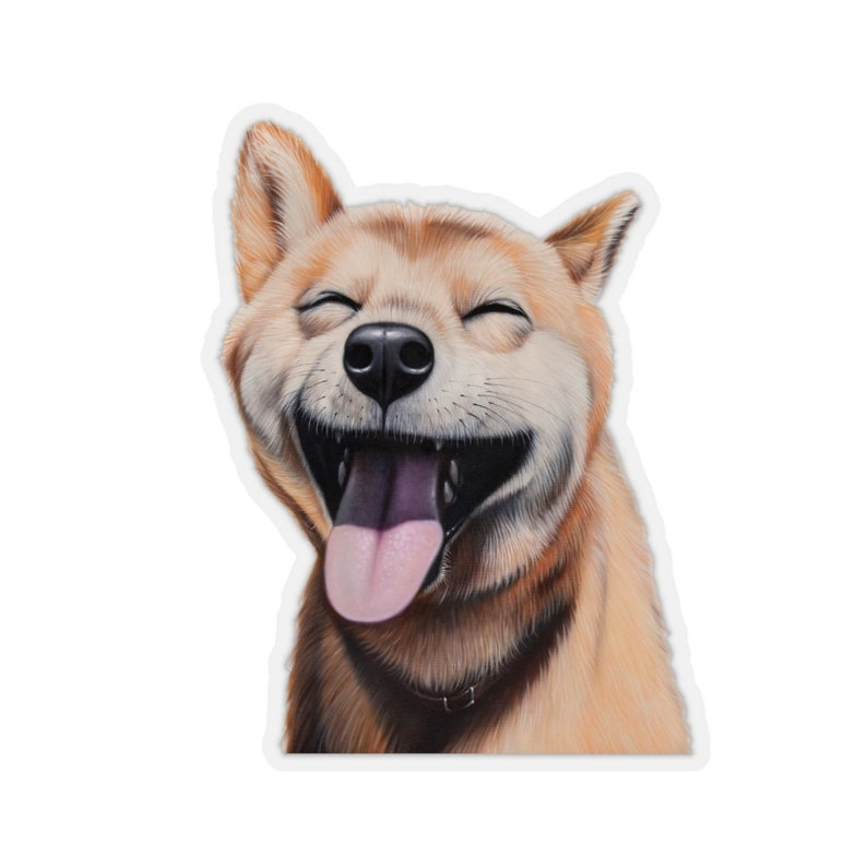 funny sticker dog gift adorable shiba inu sticker Smiling Shiba Inu Kiss-Cut Stickers cute shiba inu sticker happy sticker