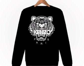 a06acc81f58 Sweatshirt Unisexe Kenzo Tigre Tiger Homme Femme Men Women Gris Chiné S M L  XL XXL Mode Fashion Luxe Sweat
