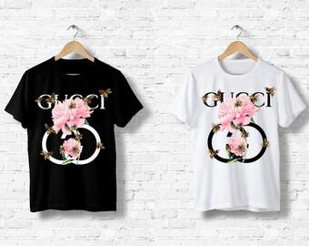 57d8a68da0c T-Shirt Gucci Fleurs Abeilles Homme Femme Men Women Noir Blanc Black White  S M L XL XXL Mode Fashion Luxe Paris
