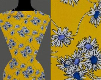 50cm STOFF CHIFFON gelbe Blumen Muster Blumenmuster dunkelblau 13,20 €//m