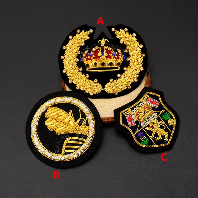 Hand Embroidered Gold Bullion Wire Embroidered Badges Sew-on Applique Patch  Vintage Crown Bee Lion Badge Bullion Patch for hats,bags DIY