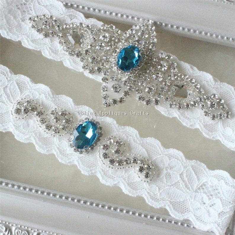 One set Something blue Bridal garter setRhinestone garterLace garterProm garterbridal fashionrhinestonerhinestone garterbridal gift