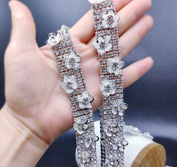 Gold Diamante Crystal Costume Decoration Rhinestone Trim 4 row 1 Yard=Quantity 1