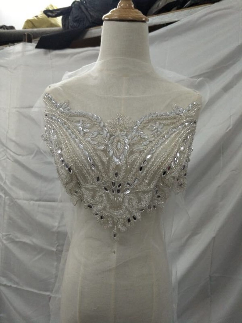Beautiful bead jewelry Bridal Crystal Beaded Bodice for Sewing on Wedding Dress Neckline Rhinestone Patch Applique Bodice Applique Trimming