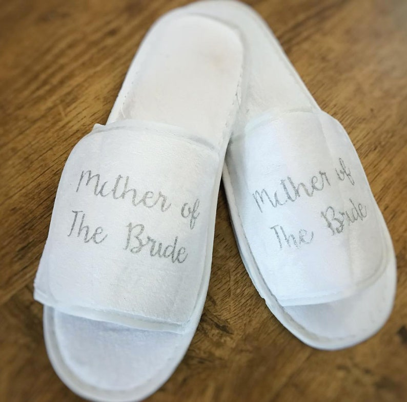 b6a1eb803b212 Bridal Slippers - Wedding slippers - White Slippers for Bridesmaids with  print